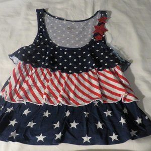 Justice Low Cut Red/White/Blue Crop Top